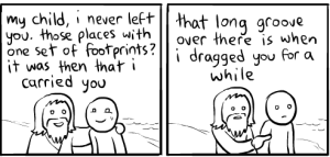 Footprints in the sand dragged you a while