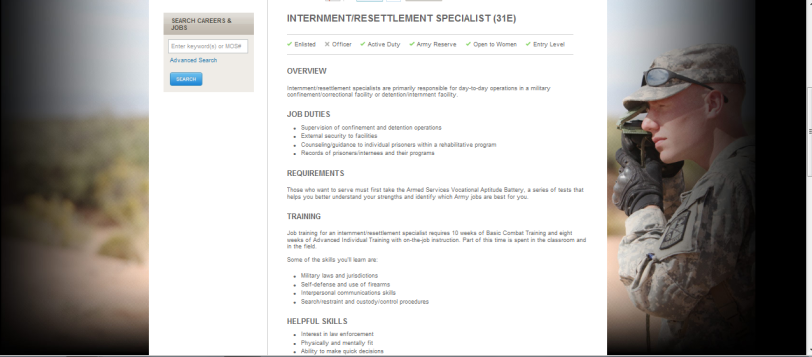 Internment and Resettlement Specialists Job description