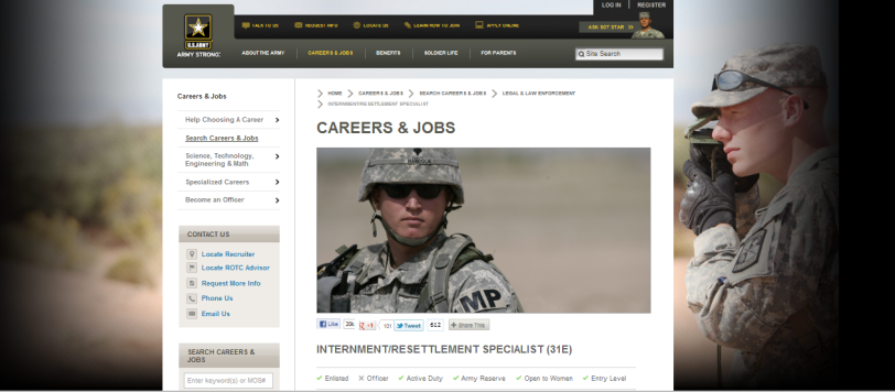 Internment Resettlement Specialist employment ad