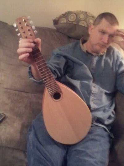 Garrett and his Mandolin in progress