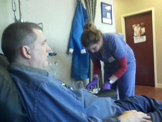 Hubby and chemo nurse Sarah