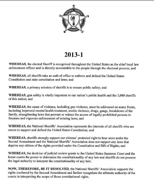 National Sheriffs Assoc statement on 2nd Amendment