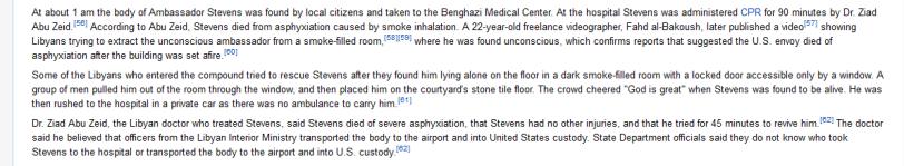 Wiki article on death of Ambassador Stevens