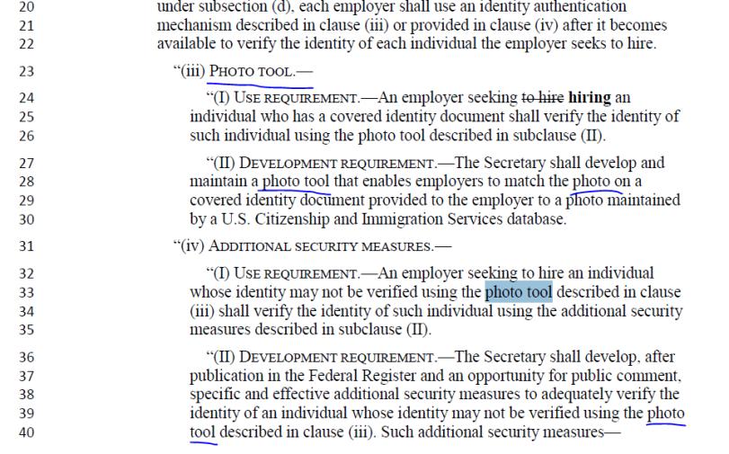 Obama immigration reform bill language indicating the biometric database