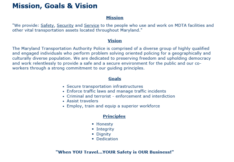 screenshot of MDTAP purpose, vision and goals