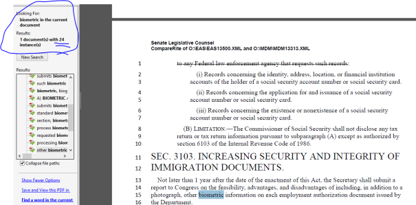 search of the word biometric in Obama immigration bill