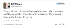 Maryland Obama speech walkout tweet