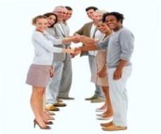 Happy business people standing in a row and shaking hands