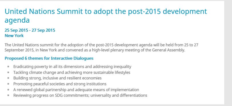 Sustainable Development Summit in September of 2015