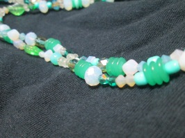 Mint green opal and leaf necklace
