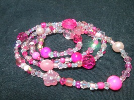 Swarovski opal andShades of pink continuous long necklace