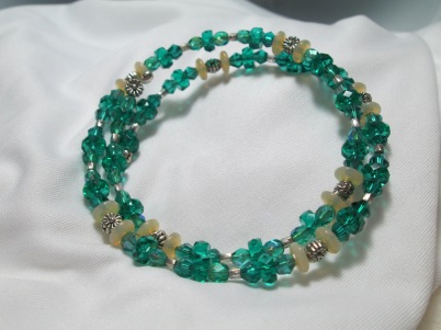 Emerald and Opal crystal and vintage glass beads coil bracelet