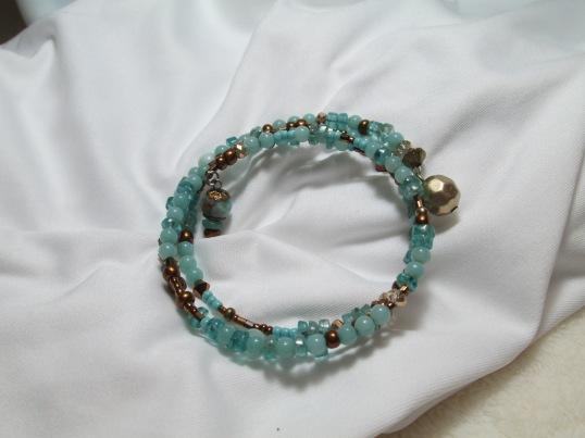 Aqua and Bronze coil bracelet