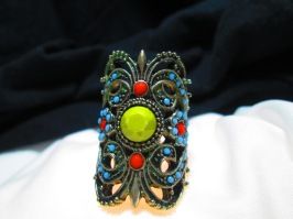 Boho turqoise and brass North-South Ring, size 5-6